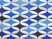 Dekostoff grafisches Muster Ovale, blau dunkelblau