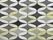 Dekostoff grafisches Muster Ovale, senfgelb grau schwarz
