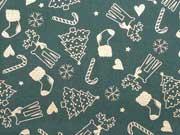 Baumwolle Weihnachtsmotive - gold auf tannengrün