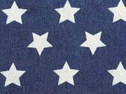 Stretchiger Jeansstoff große Sterne (ca.3cm), dunkelblau
