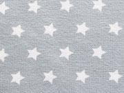 RESTSTÜCK 27 cm Jerseystoff  Sterne 0,9 cm, weiß auf hellgrau
