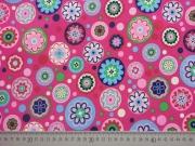 RESTSTÜCK 48 cm Softshell Blumen Punkte, bunt auf pink