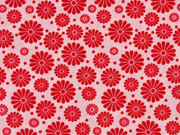 Baumwollstoff Blumen, rot rosa