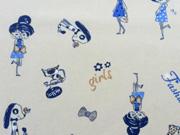 Baumwollpopelin Girls, creme/blau