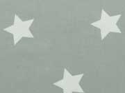RESTSTÜCK 67 cm Stenzo BW Sterne 4cm, weiss auf grüngrau