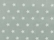 RESTSTÜCK 61 cm Baumwollstoff Sterne 1 cm Stenzo, weiss auf grüngrau