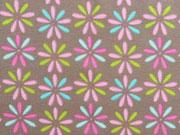 Jersey Sternblumen Stenzo, rosa/hellgrün auf taupe