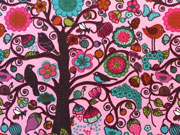 RESTSTÜCK 36 cm Jersey Blumen und Vögel im Wald, rosa