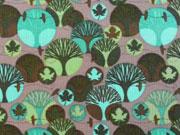 Feincord Bäume & Ahorn Blätter Stenzo, türkis taupe