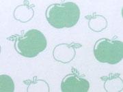 RESTSTÜCK 33 cm Bio-Jersey Stenzo Äpfel,  hellgrün auf weiß