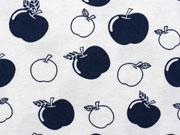Bio-Jersey Stenzo Äpfel,  dunkelblau auf weiß