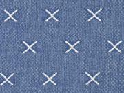 RESTSTÜCK 90cm Stenzo French Terry Kreuze, weiß auf jeansblau