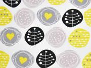 RESTSTÜCK 34 cm Jersey Kreise & Herzen, schwarz/gelb weiss