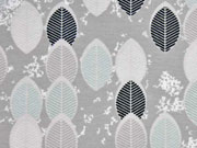 Jersey bunte Blätter, schwarz/mint auf taupe