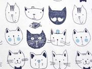RESTSTÜCK 35 cm Jersey Katzengesichter, dunkelblau auf weiss