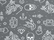 Stenzo Jersey Totenköpfe Rosen, weiß dunkelgrau