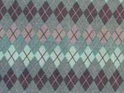 Baumwollstoff Rautenmuster mint auf grau