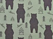 RESTSTÜCK 30 cm Stenzo Jersey Bären, dunkelbraun mattes grün