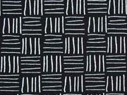 RESTSTÜCK 70cm Stenzo Jersey Linien Rechtecke,  weiß schwarz