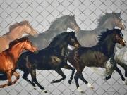 Jersey Digitaldruck Pferde, grau