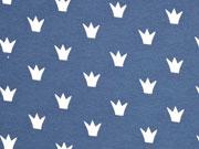 RESTSTÜCK 32 cm Jersey Kronen, weiß jeansblau