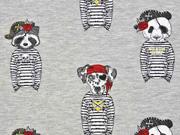 French Terry Piraten Tiere Stenzo rot grau