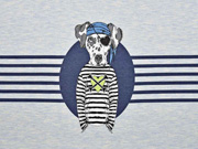 French Terry Hund Pirat Panel Stenzo blau melange