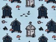 Jersey kleine Strandhäuser, hellblau
