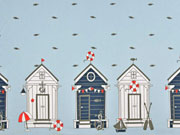 Jersey Strandhäuser Borderprint, hellblau