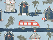 Jersey Strandhäuser Busse hellblau
