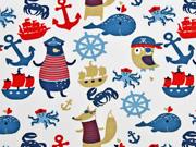 Jersey maritime Tiere und Motive, weiß rot blau