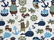 Jersey maritime Tiere und Motive, weiß blau khaki