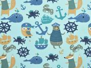 RESTSTÜCK 67 cm Jersey maritime Tiere und Motive, mint
