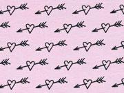 Bio-Jersey Stenzo Herzen mit Pfeilen,schwarz rosa