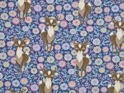 Jersey Stenzo Hirsche und Blumen mattes dunkelblau