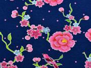 Jersey Stenzo Blumen mit Vögeln, dunkelblau