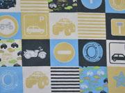 Baumwollstoff Fahrzeuge Verkehrschilder Stenzo, beige grau weiß