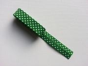Gepunktetes Schrägband als 2m-Stück, weiß grasgrün