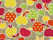 Baumwollstoff Erdbeeren Kirschen gemustert, orange gelb beige
