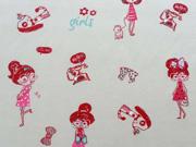 Baumwollpopelin Girls, creme/rot