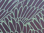 RESTSTÜCK 98 CM Viskose Jersey Flügel, mint auf blaugrau