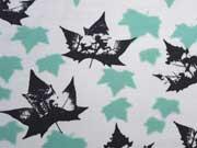 RESTSTÜCK 23 cm Sweat Ahorn Blätter, weiß
