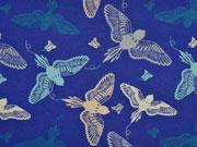 Jersey Vögel, beige/hellgrau auf mittelblau