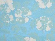 RESTSTÜCK 64 cm Jersey Hawaii Blumen mint hellblau