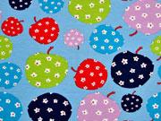 Jersey gemusterte Äpfel, bunt/hellblau