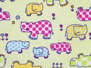 Butterweicher Flanell Hippo, gelbgruen