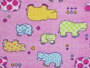 Butterweicher Flanell Hippo, rosa