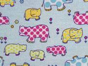 Butterweicher Flanell Hippo, hellblau