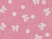 Leichter Strukturstoff Schleifen & Punkte, rosa