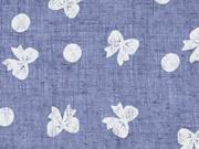 Leichter Strukturstoff Schleifen Punkte, jeansblau